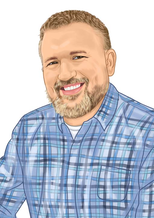 Caricature of Eck Agency Insurance Agent Andrew Kemper