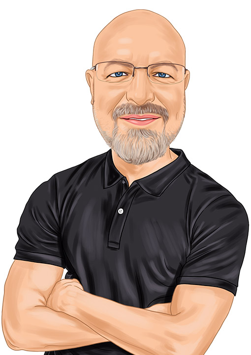 Caricature of Eck Agency Insurance Agent Darren Ledgerwood