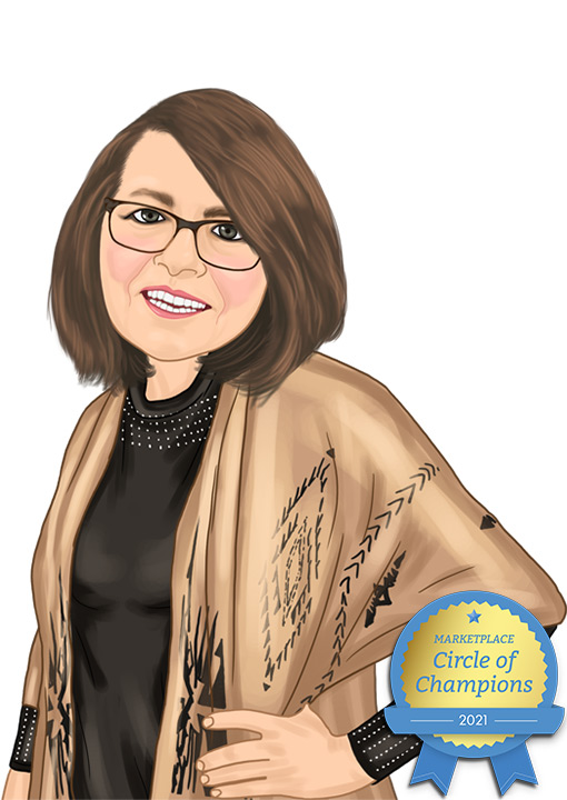 Caricature of Eck Agency Insurance Agent Karen Larson, Marketplace Circle of Champions 2021