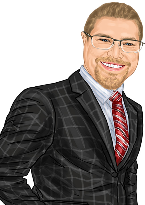 Caricature of Eck Agency Insurance Agent Seth Rolfs